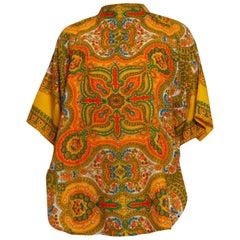 1960S Orange Paisley Acrylic Oversized Pullover Top