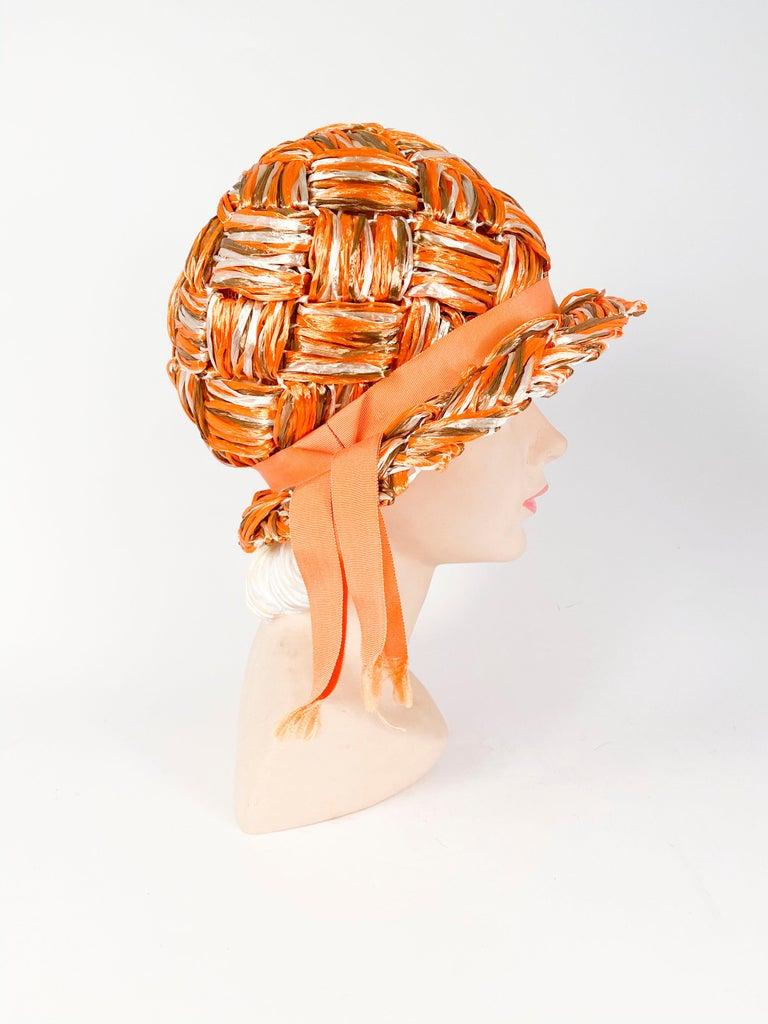 1960s Orange Raffia Cloche In Good Condition For Sale In San Francisco, CA