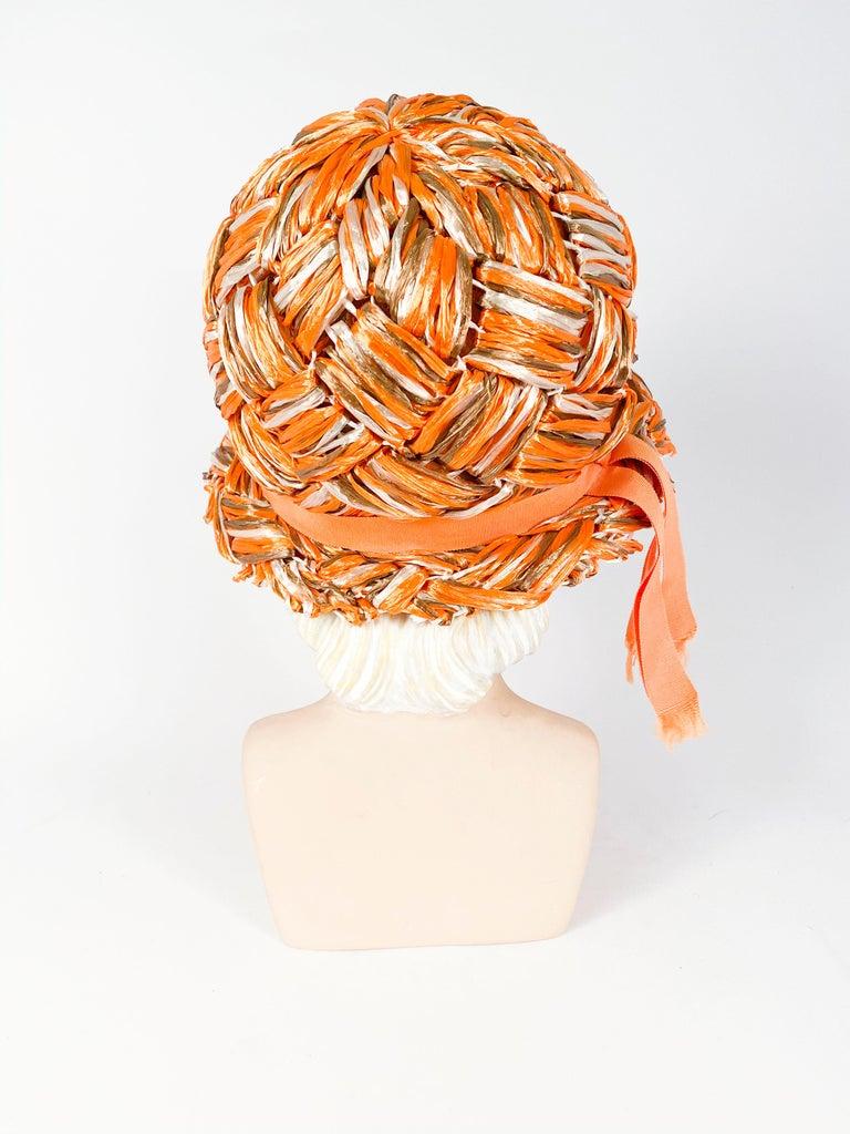 Women's 1960s Orange Raffia Cloche For Sale