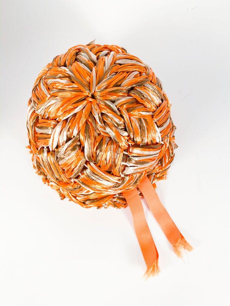 1960s Orange Raffia Cloche For Sale 1