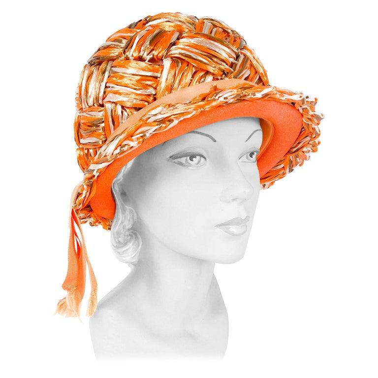 1960s Orange Raffia Cloche For Sale