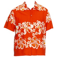 1960S Orange Tropical Cotton Barkcloth Men's Surf Print Shirt Made In Hawaii