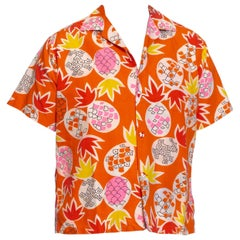 1960S Orange Tropical Cotton Men's Hawaiian Shirt With Pineapples