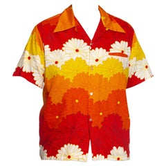 1960S Orange & Yellow Cotton Sateen Men's Mod Hawaiian Shirt