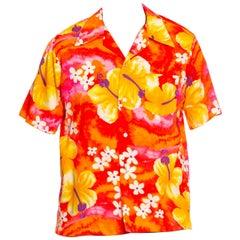 1960S Orange, Yellow & Pink Hawaiian Cotton Men's Shirt