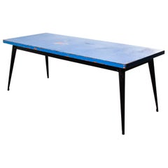 1960's Original French T55 Tolix Rectangular Two Metre Dining Table, Blue Top