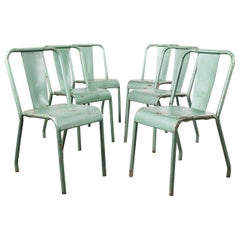 1960s Original French Tolix T37 Metal Cafe Outdoor Dining Chairs Ð, Set of Six