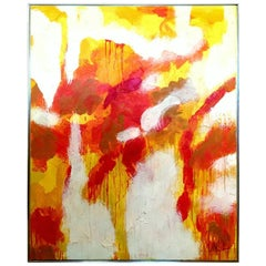 1960s Original Oil on Canvas Abstract Painting by, Lee Reynolds-Signed