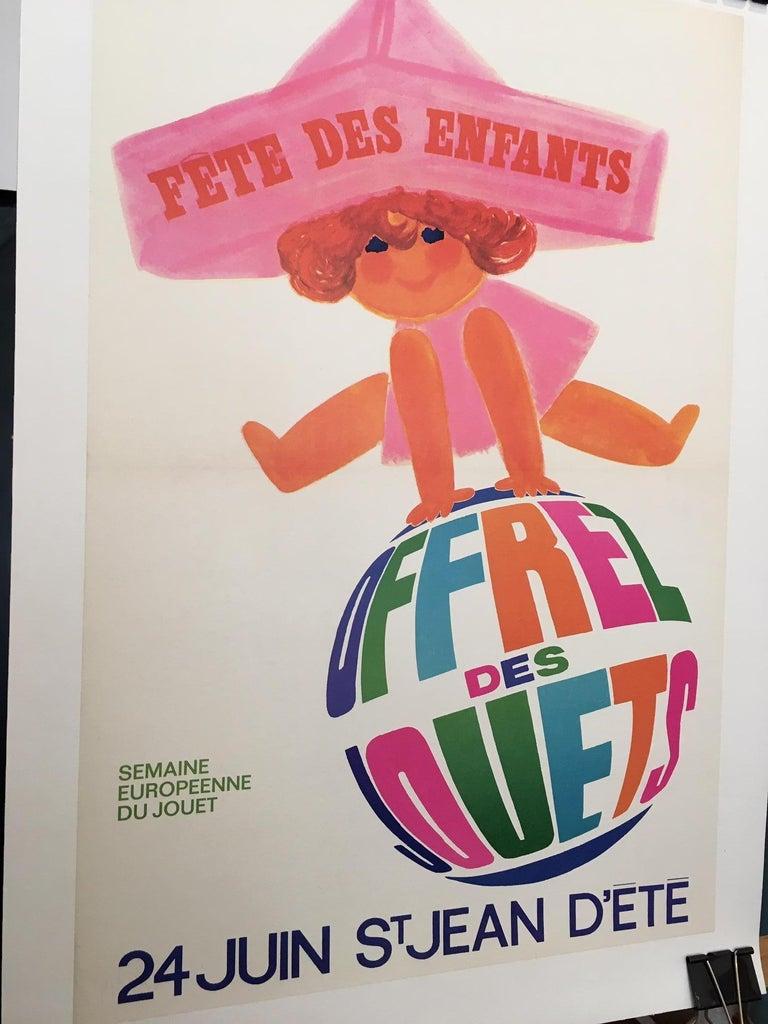 Original vintage French poster, 'Fete Des Enfants' by Raoul Eric Castel   Artist Raoul Eric Castel  Condition Good  Format Linen backed  Dimensions 68 x 48 cm.