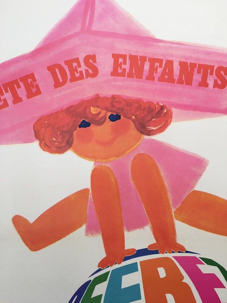 International Style 1960s Original Vintage French Poster, 'Fete Des Enfants' by Raoul Eric Castel For Sale