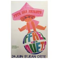 1960s Original Vintage French Poster, 'Fete Des Enfants' by Raoul Eric Castel