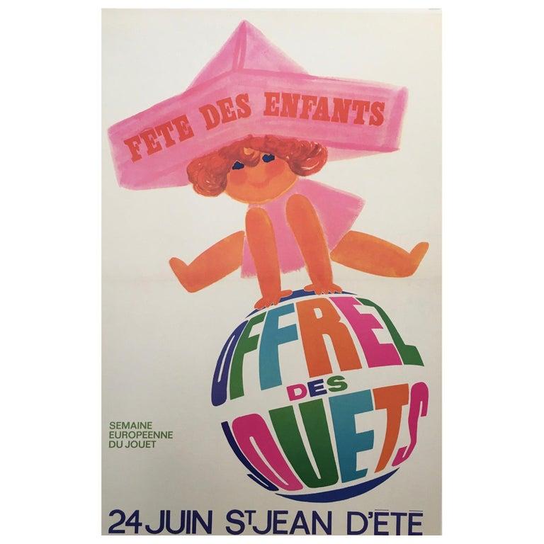 1960s Original Vintage French Poster, 'Fete Des Enfants' by Raoul Eric Castel For Sale