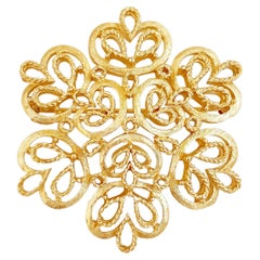 1960s Ornate Gilded Abstract Floral Brooch With Braided Texture By Crown Trifari
