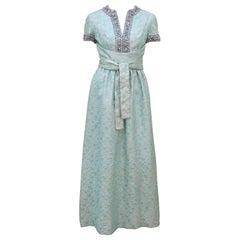 1960's Oscar de La Renta Beaded Brocade Evening Dress