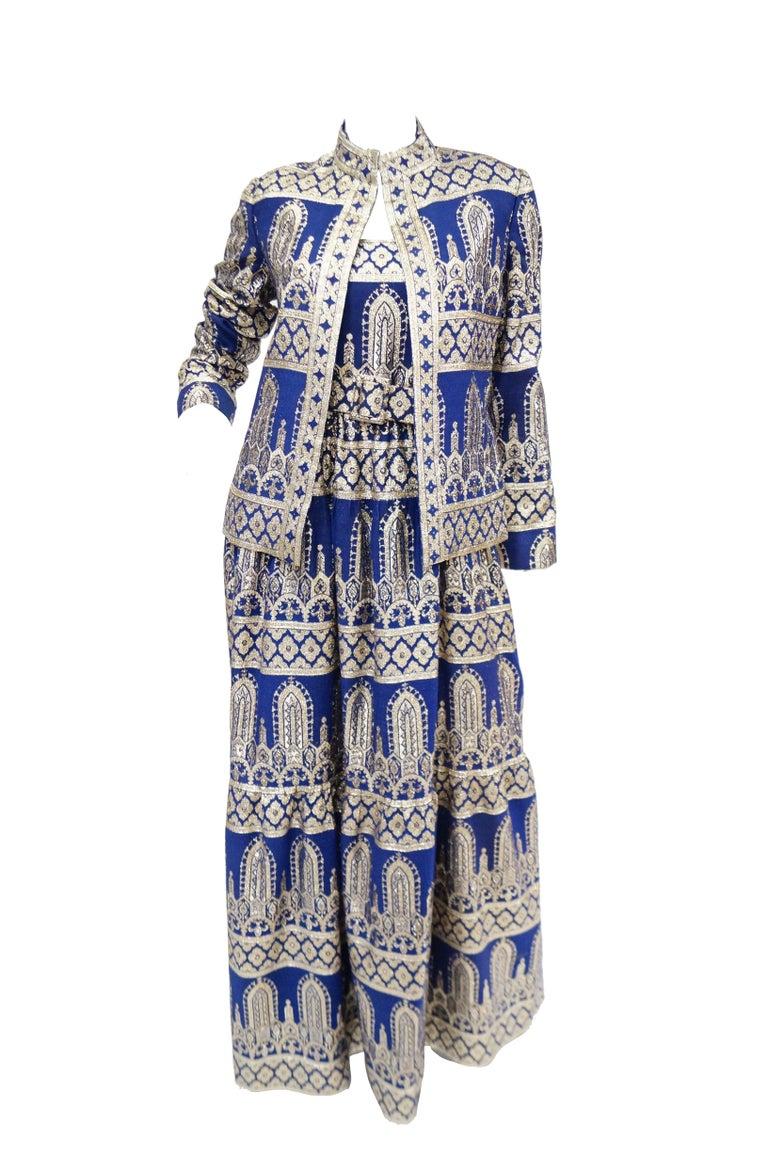 1960s Oscar de la Renta Blue & Gold Evening Dress & Jacket Ensemble For Sale 5