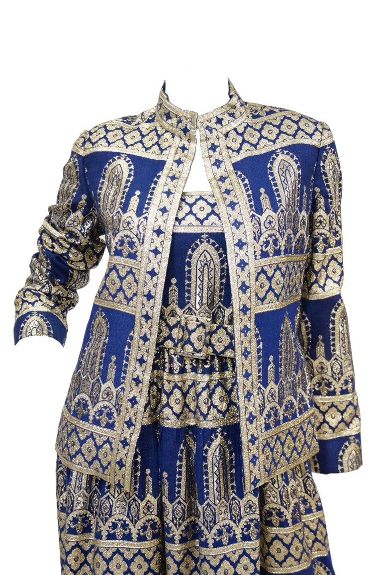 1960s Oscar de la Renta Blue & Gold Evening Dress & Jacket Ensemble For Sale 6