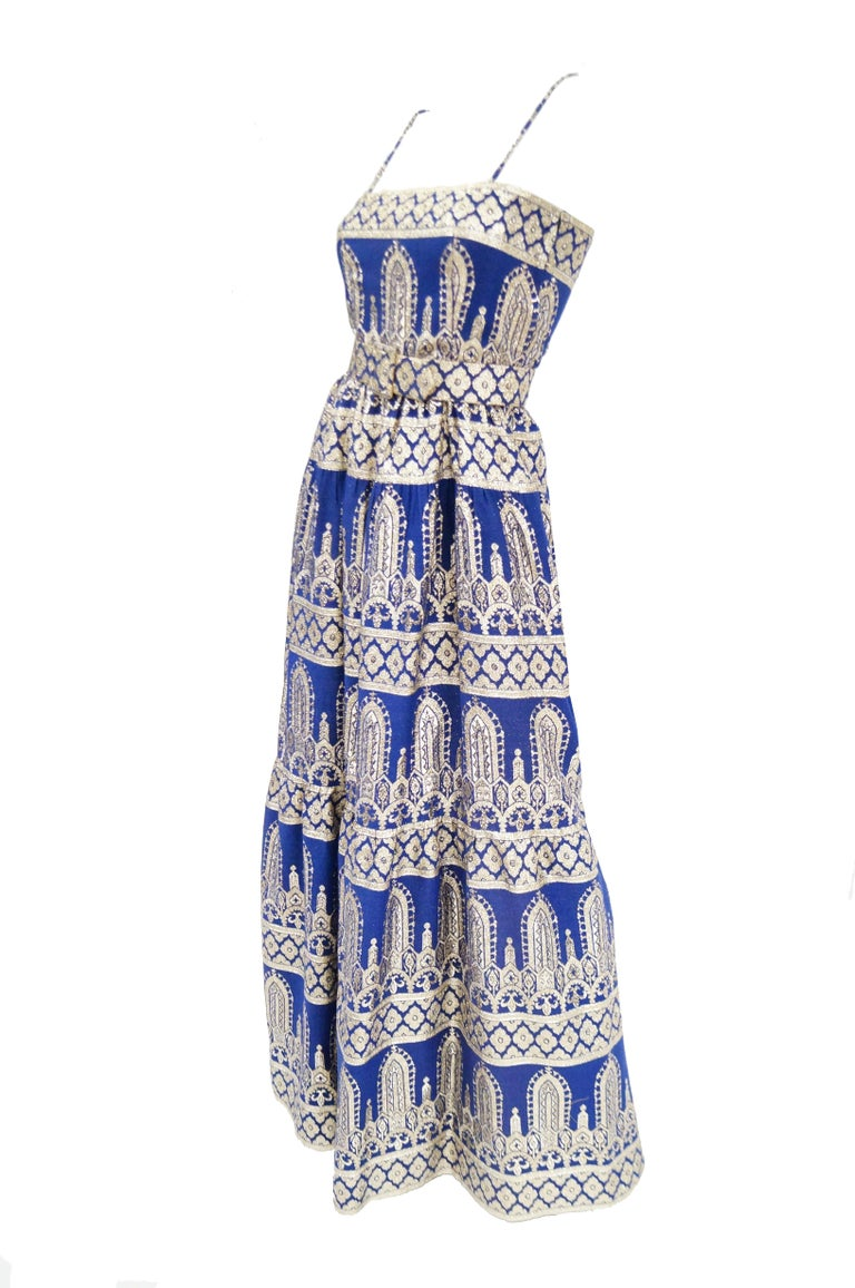 Gray 1960s Oscar de la Renta Blue & Gold Evening Dress & Jacket Ensemble For Sale