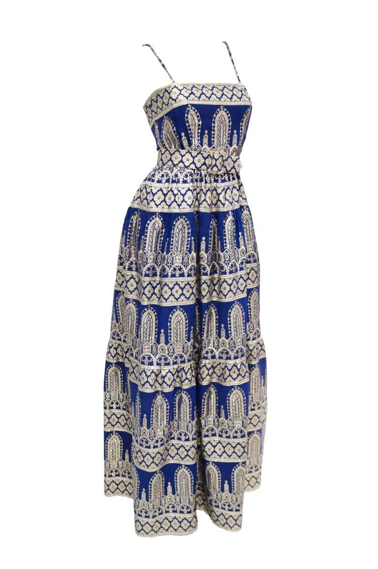 1960s Oscar de la Renta Blue & Gold Evening Dress & Jacket Ensemble In Excellent Condition For Sale In Houston, TX
