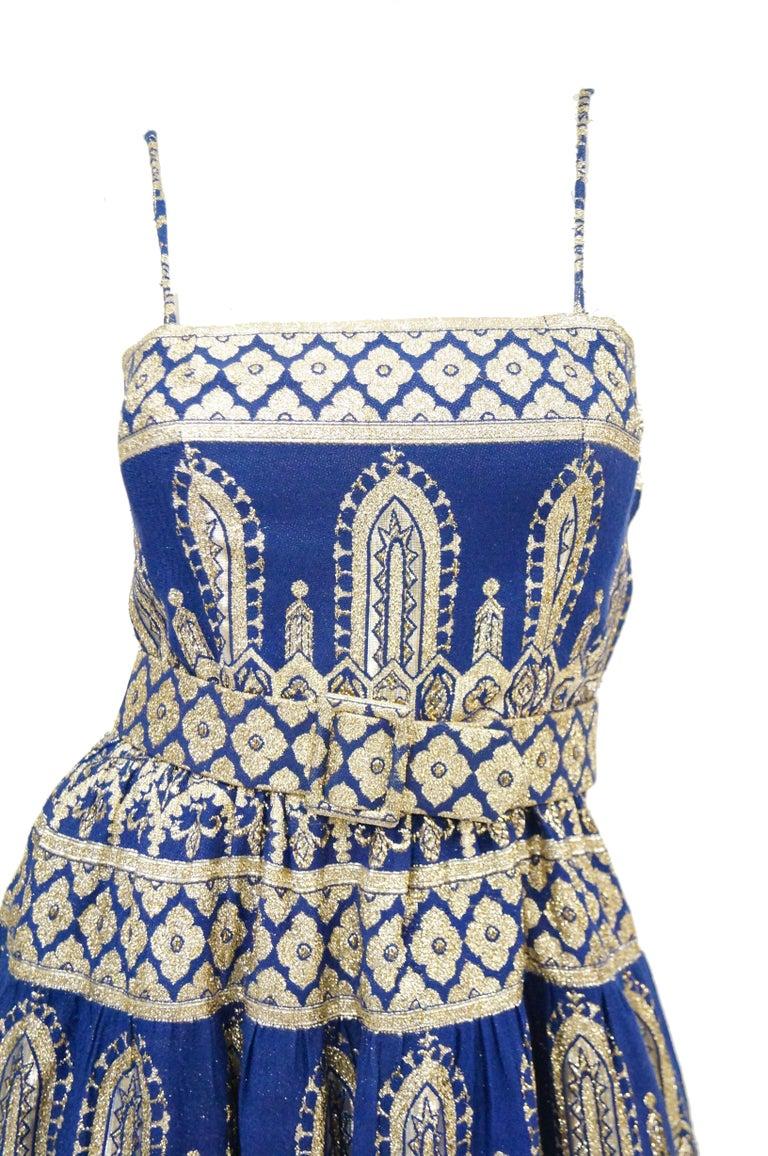 Women's 1960s Oscar de la Renta Blue & Gold Evening Dress & Jacket Ensemble For Sale
