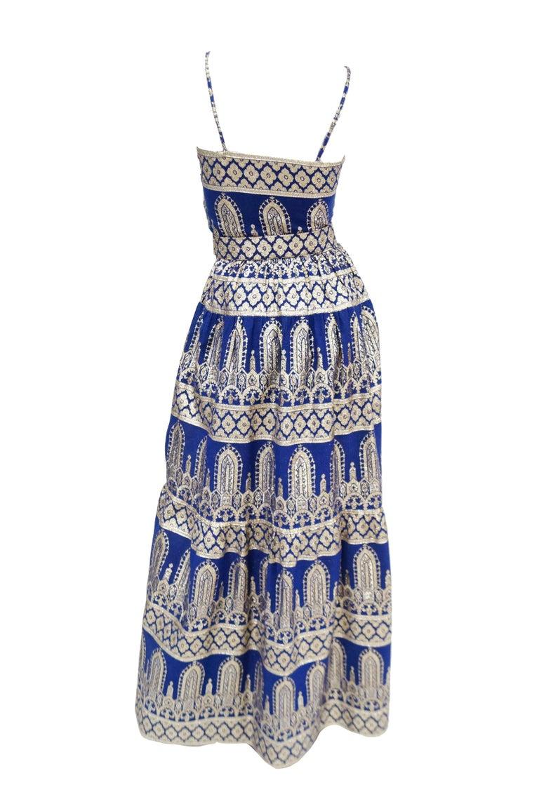 1960s Oscar de la Renta Blue & Gold Evening Dress & Jacket Ensemble For Sale 1