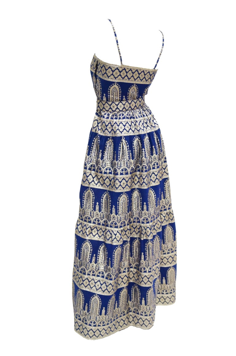 1960s Oscar de la Renta Blue & Gold Evening Dress & Jacket Ensemble For Sale 2