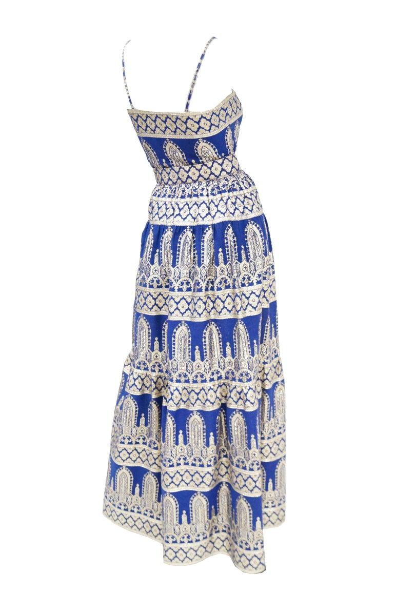 1960s Oscar de la Renta Blue & Gold Evening Dress & Jacket Ensemble For Sale 3