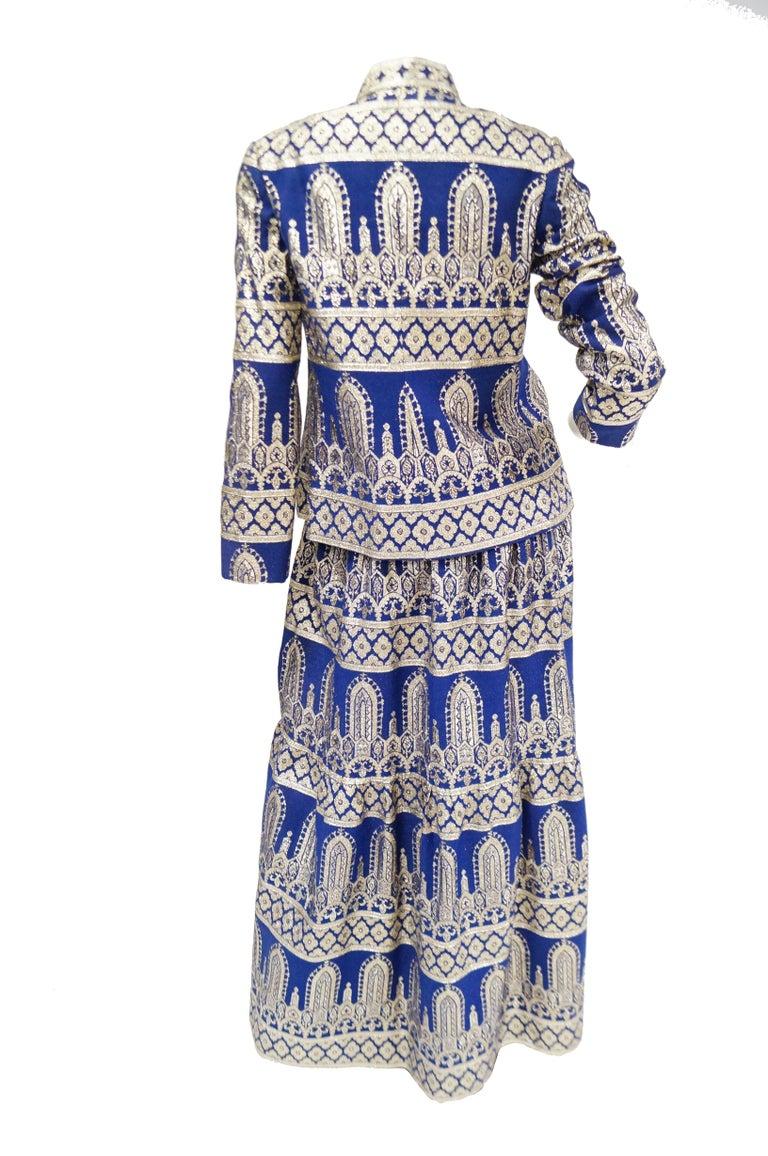 1960s Oscar de la Renta Blue & Gold Evening Dress & Jacket Ensemble For Sale 4