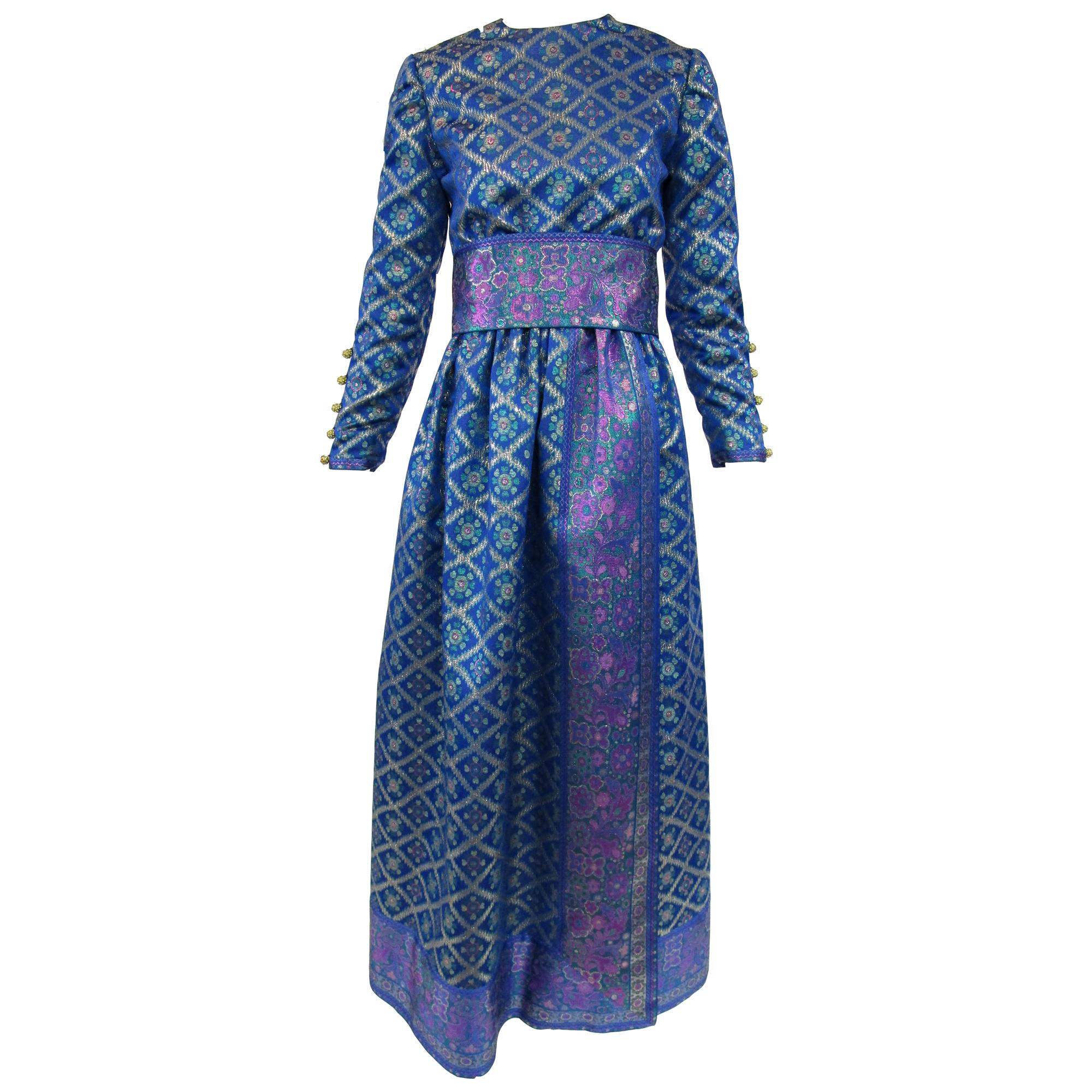 1960s Oscar de la Renta Blue Metallic Floral Brocade Evening Dress