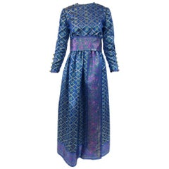 1960s Oscar de la Renta Blue Metallic Floral Brocade Evening Dress
