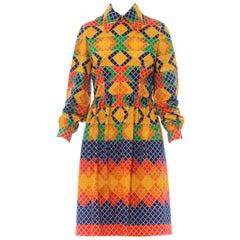 1960S OSCAR DE LA RENTA Multicolor Polyester Jersey Mod Geometric Shirt Dress