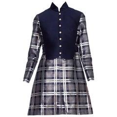 1960'S OSCAR DE LA RENTA Navy Blue Metallic Silk & Wool Silver Lamé Sleeved Mod