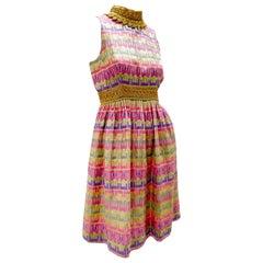 1960s Oscar de La Renta Pastel Striped Brocade Minidress w/ Gold Neck & Waist