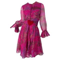 1960s Oscar de la Renta Pink Heart and Flower Print Vintage 60s Silk Dress