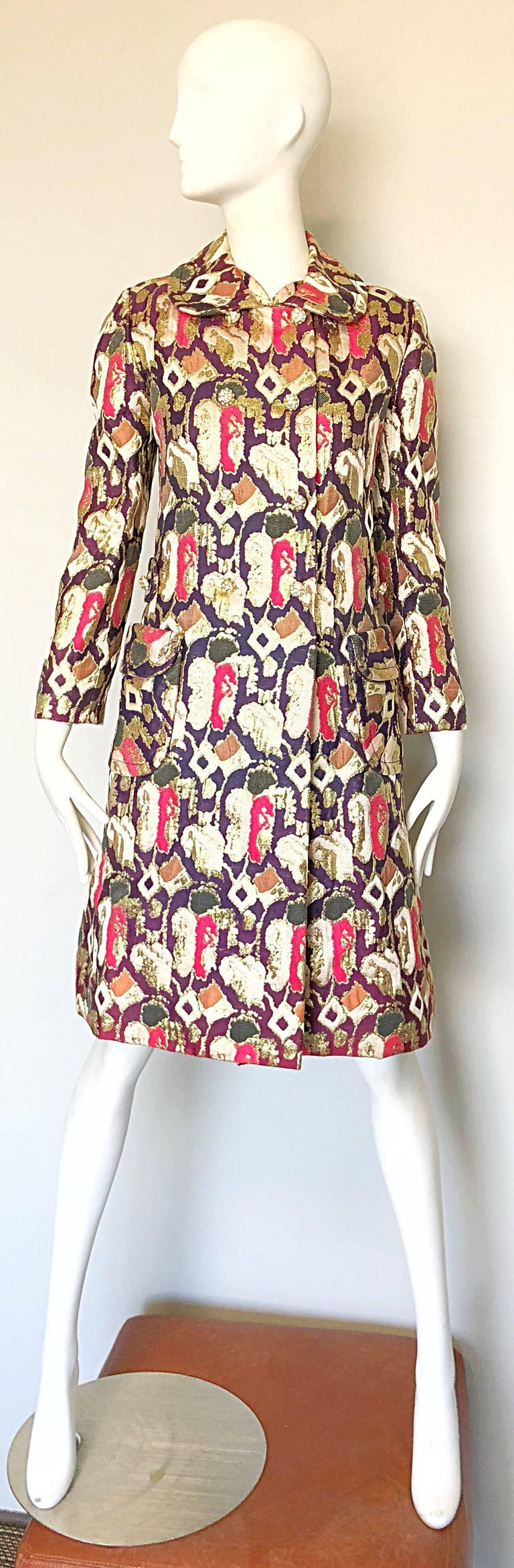Brown 1960s Oscar de la Renta Silk Brocade A - Line 60s Vintage Dress and Jacket For Sale