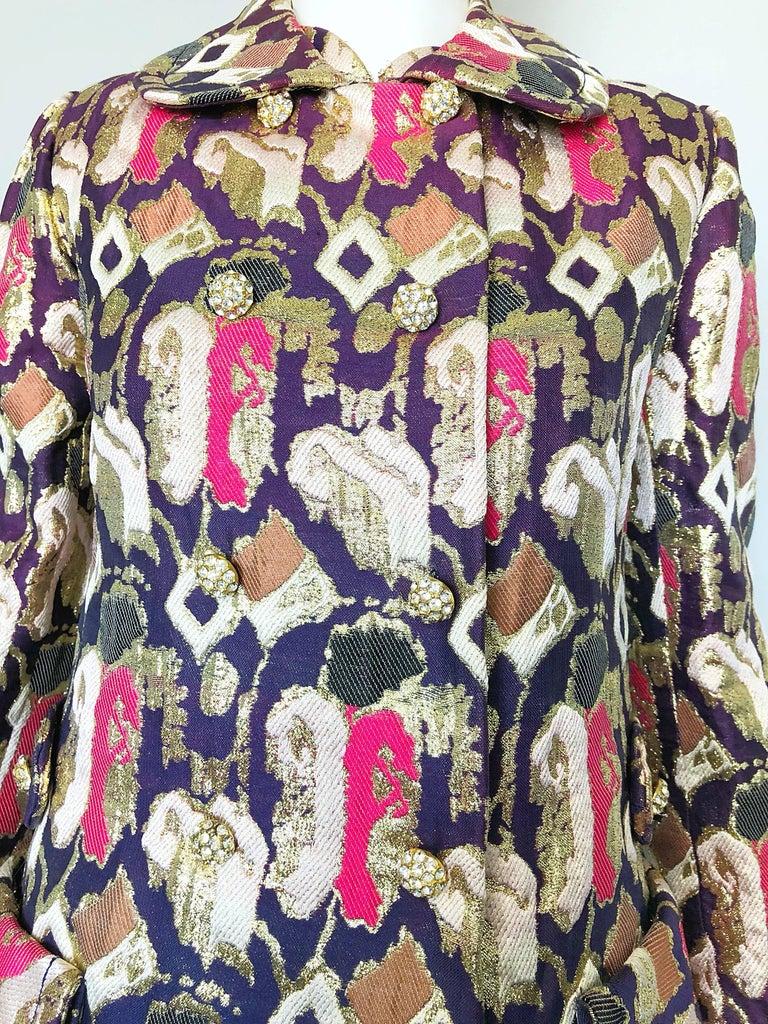 1960s Oscar de la Renta Silk Brocade A - Line 60s Vintage Dress and Jacket In Excellent Condition For Sale In Chicago, IL