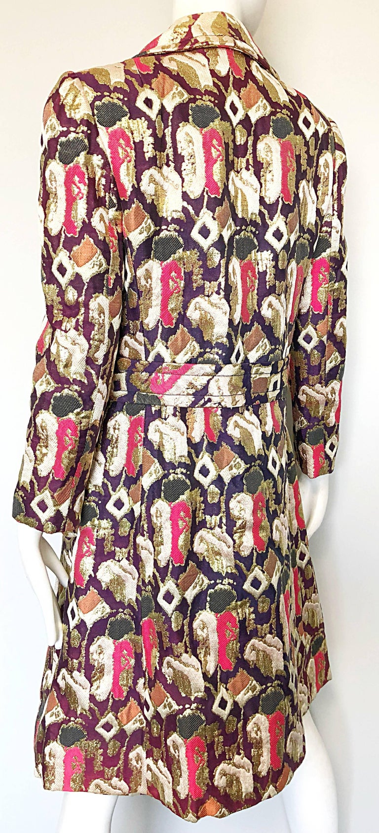 Women's 1960s Oscar de la Renta Silk Brocade A - Line 60s Vintage Dress and Jacket For Sale