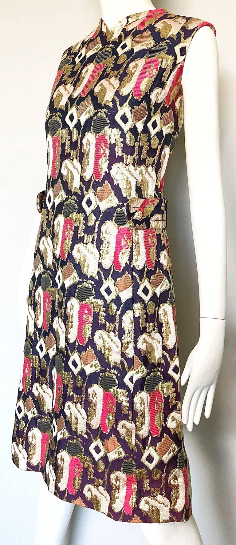 1960s Oscar de la Renta Silk Brocade A - Line 60s Vintage Dress and Jacket For Sale 1