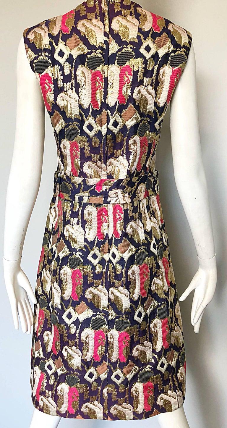 1960s Oscar de la Renta Silk Brocade A - Line 60s Vintage Dress and Jacket For Sale 2