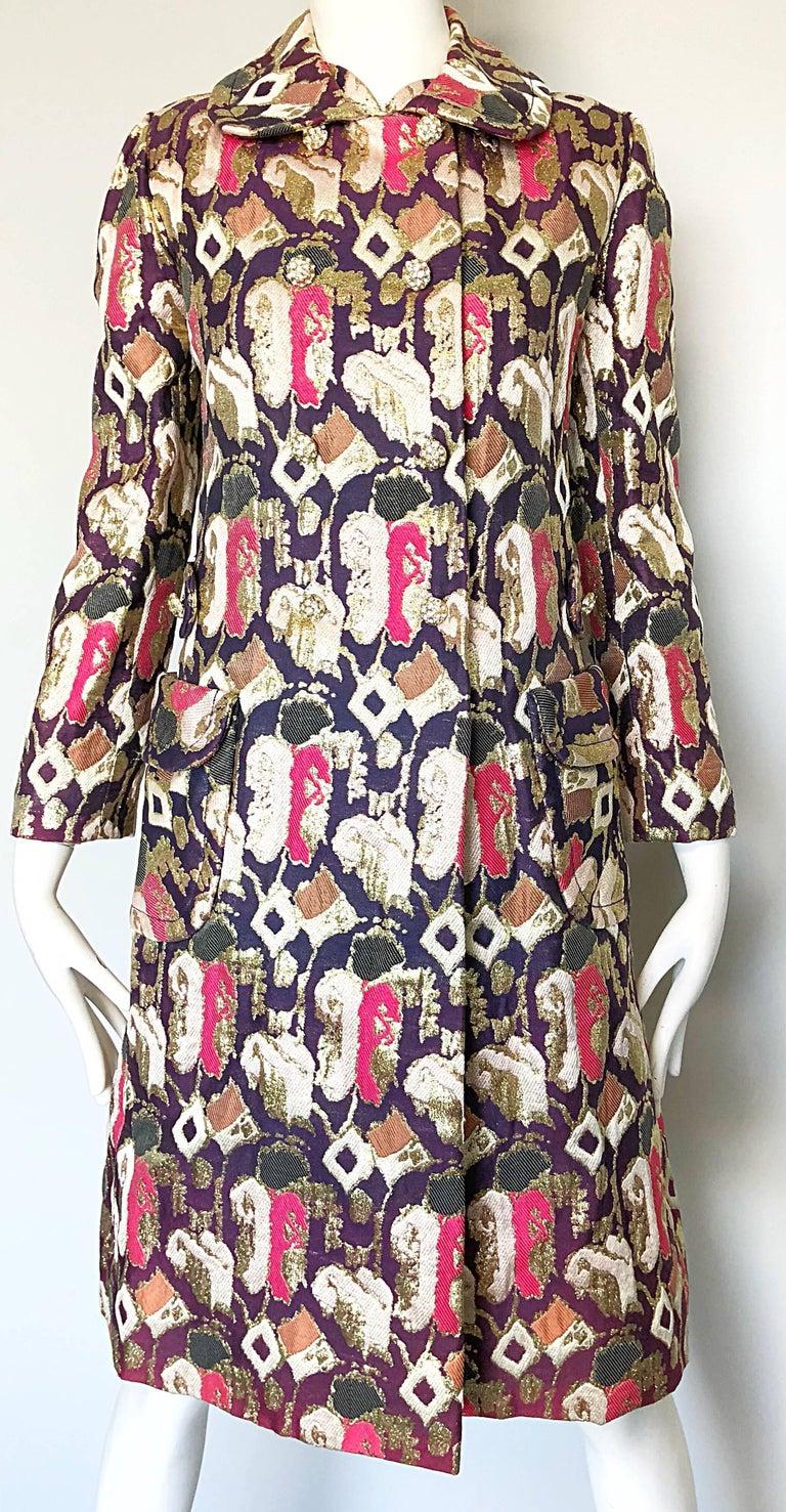 1960s Oscar de la Renta Silk Brocade A - Line 60s Vintage Dress and Jacket For Sale 3