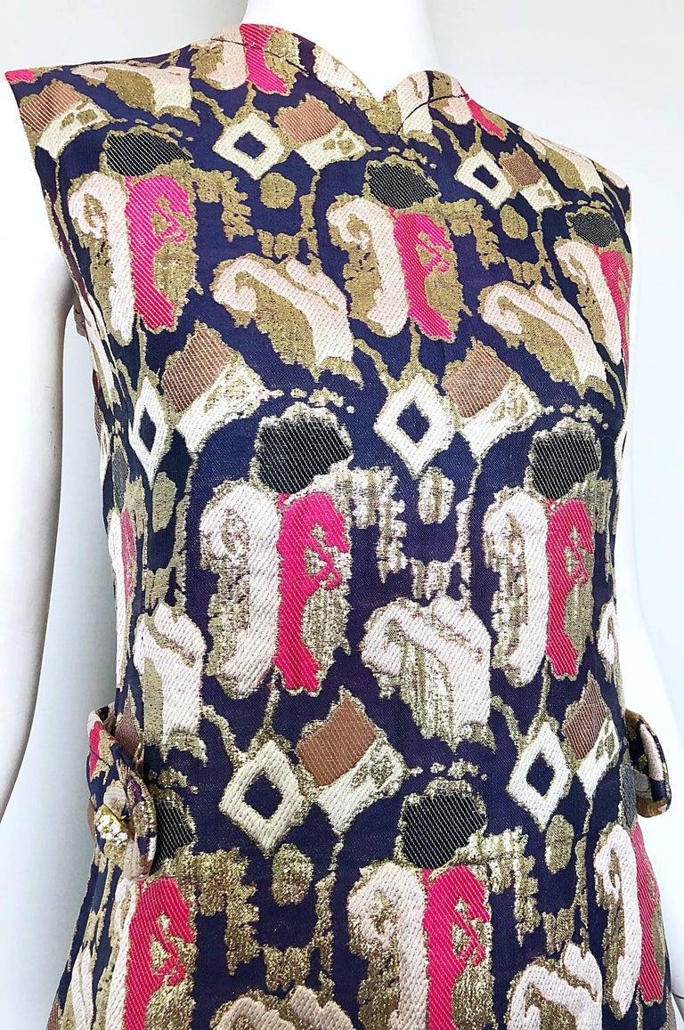 1960s Oscar de la Renta Silk Brocade A - Line 60s Vintage Dress and Jacket For Sale 4