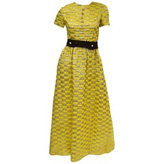 1960s Oscar de la Renta Yellow and Gold Checkerboard Print Evening Dress