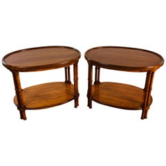 1960s Oval Mahogany Bamboo Style Brandt Furniture Side Tables, Pair