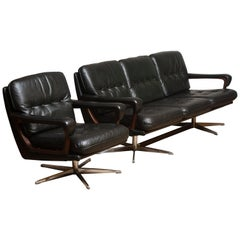1960s Oxford Green Leather Sofa and Matching Swivel Chair by André Vandenbeuck