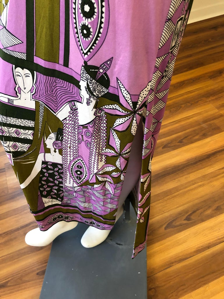 1960s Paganne by Gene Berk Dress with Turn of the Century Graphics - Signed In Excellent Condition For Sale In Port Hope, ON