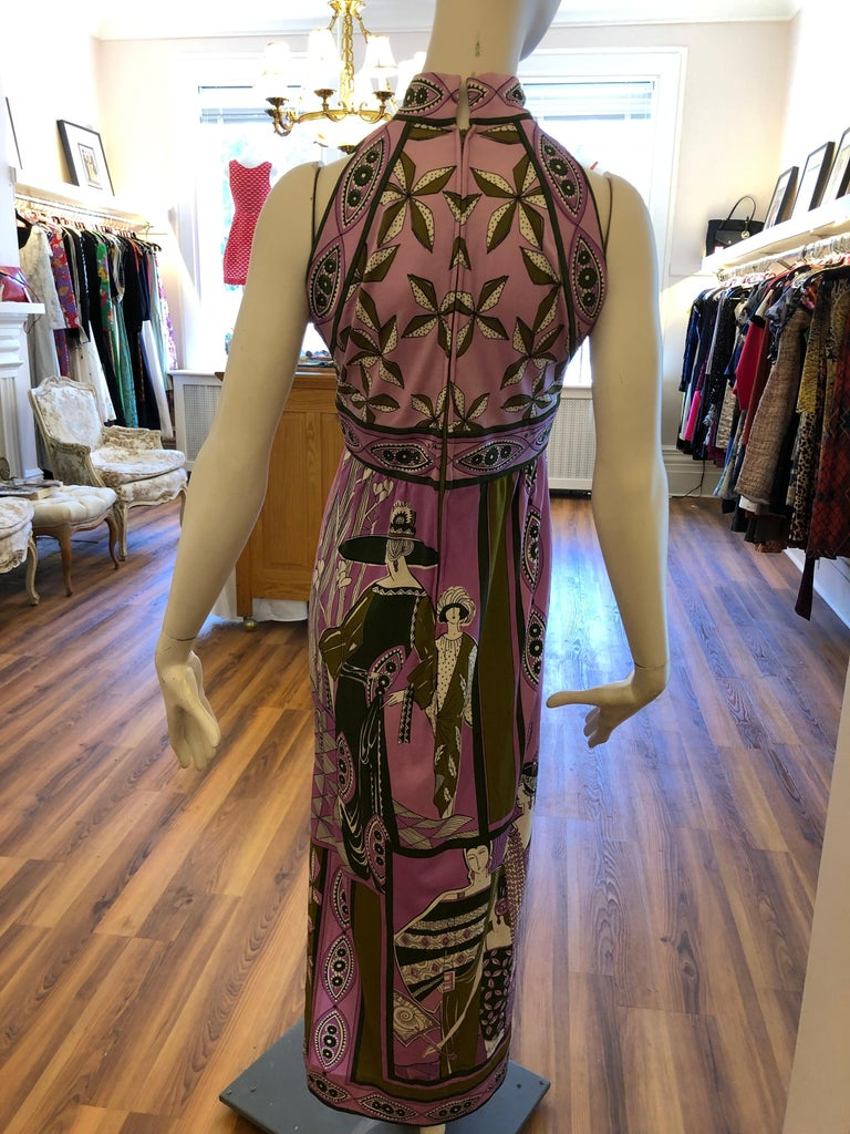 Women's 1960s Paganne by Gene Berk Dress with Turn of the Century Graphics - Signed For Sale