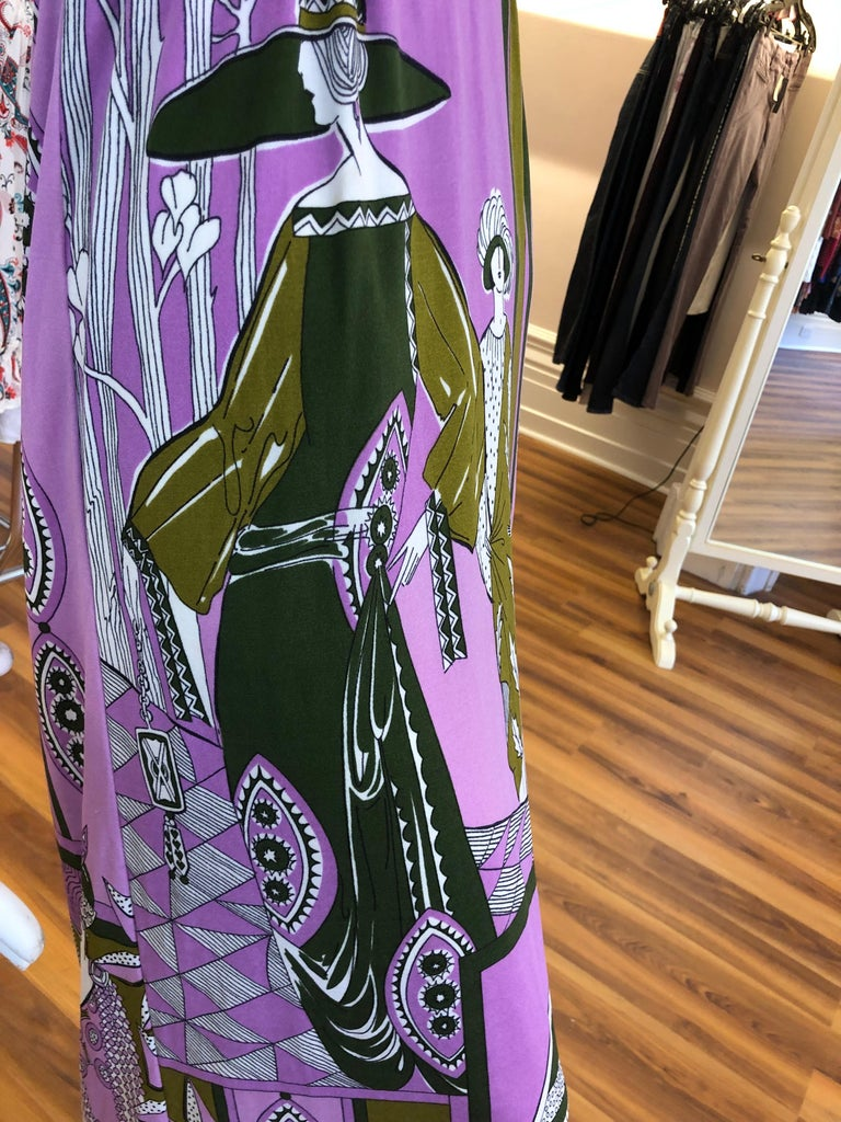 1960s Paganne by Gene Berk Dress with Turn of the Century Graphics - Signed For Sale 4