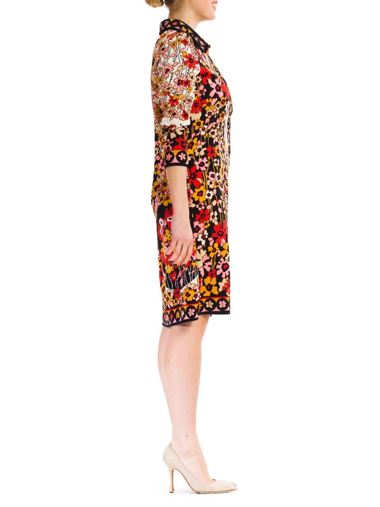 1960S PAGANNE Floral Printed Polyester Jersey Mod Shift Dress In Excellent Condition For Sale In New York, NY