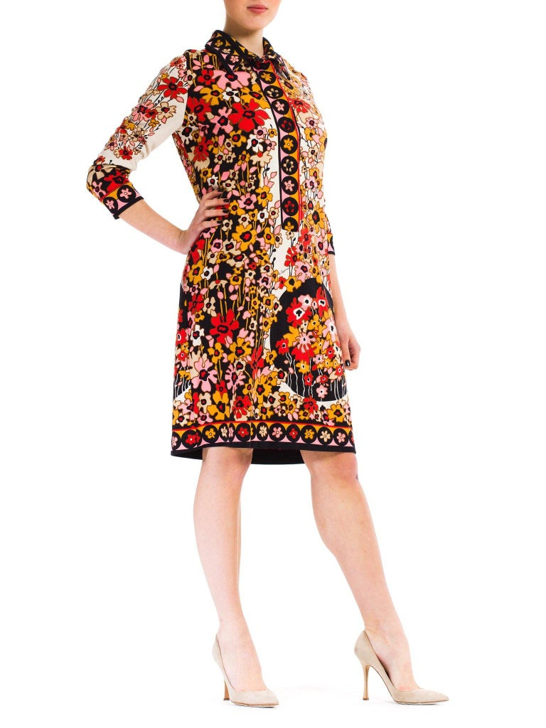Women's 1960S PAGANNE Floral Printed Polyester Jersey Mod Shift Dress For Sale