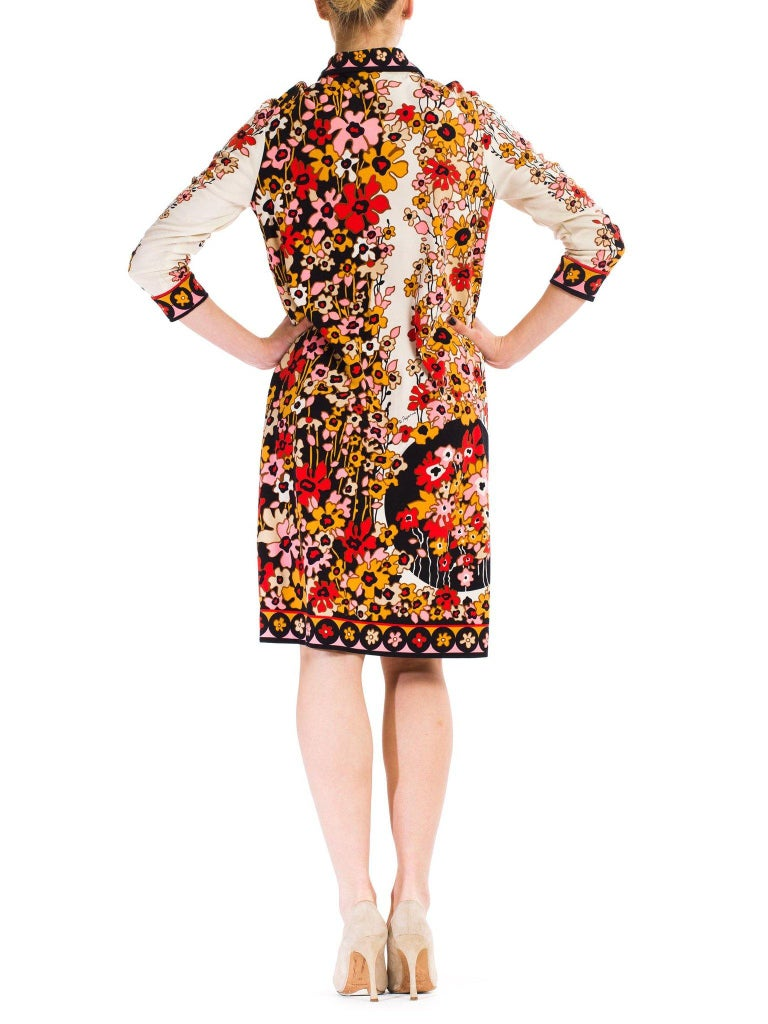 1960S PAGANNE Floral Printed Polyester Jersey Mod Shift Dress For Sale 2