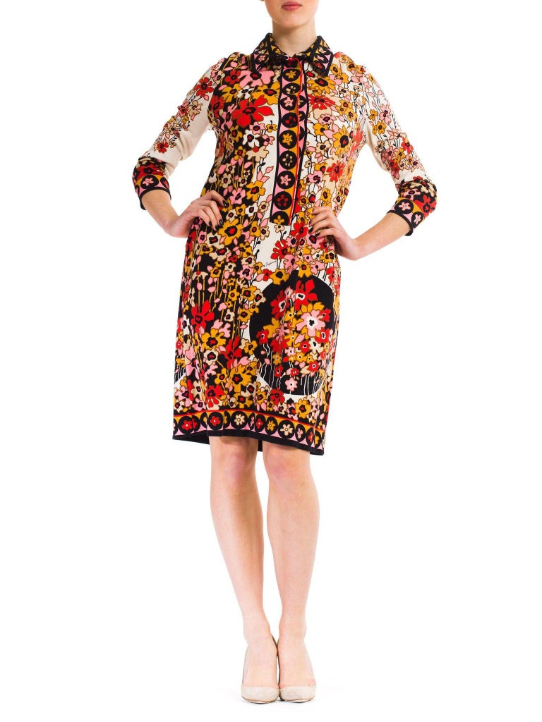 1960S PAGANNE Floral Printed Polyester Jersey Mod Shift Dress For Sale 3